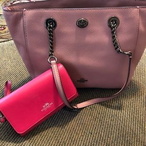 Coach pink leather shoulder bag and pink wallet